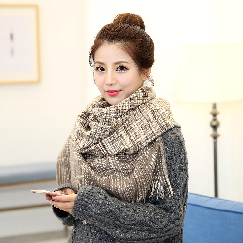 South korean korean version of the fall winter sided cashmere scarf shawl dual couples gretl son long tassel scarf female