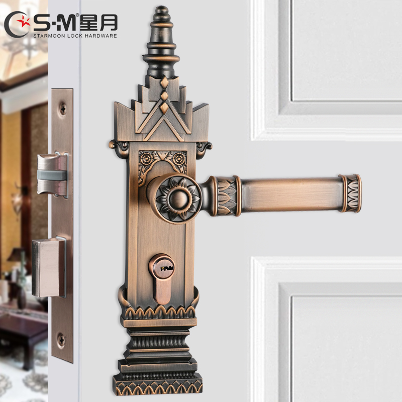 Southeast asian style clubhouse hotel interior bedroom room door locks solid wood door static sound archaized copper grid forced lockset