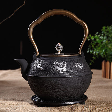 Southern cast iron pot copper to copper lid boying high temperature oxidation layer uncoated cast iron tea kettle boiling tea kettle tea set