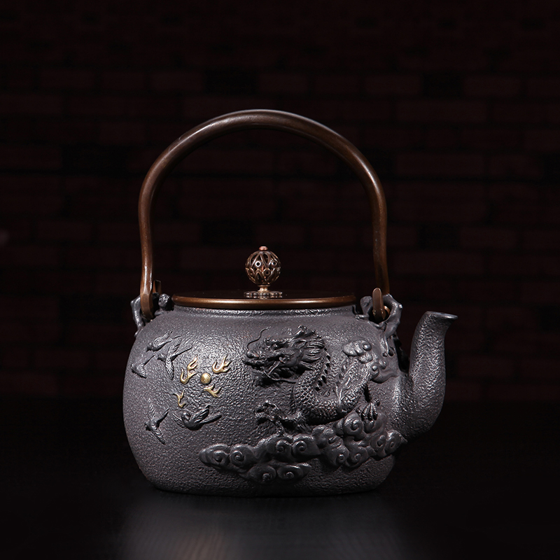 Southern iron pot uncoated cast iron pot iron teapot japanese iron pot iron kettle old iron kettle teapot dragon depiction jinxiang