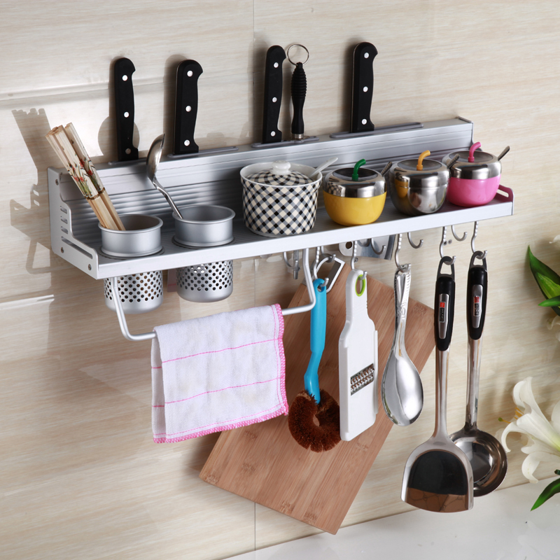 Space aluminum kitchen racks kitchen pendant seasoning rack turret wall storage rack seasoning rack kitchen utensils