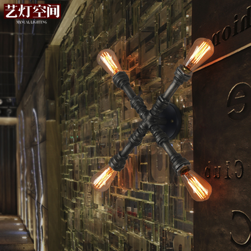 [Space] arts lamp headlight lamps wall lamp wall lamp retro industrial art style pipe bed nostalgia personalized wall sconce