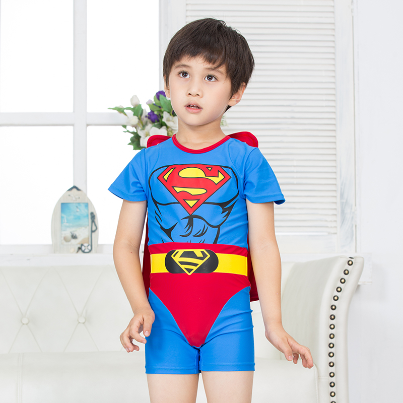 19fa92ecf1db1 Get Quotations · Special boys superman cape style siamese boxer swimsuit  children costumes stage clothes years old shipping