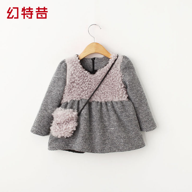 Special magic special riboside plush fall and winter clothes baby clothing children girls princess dress plus thick velvet dress