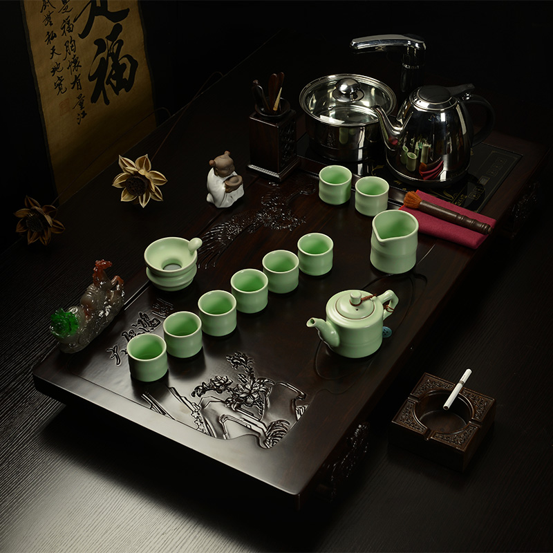 Special tea set kung fu tea royal goods incense inblock grand plans set four ebony wood tea tray