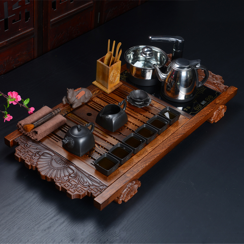 Special wenge wood tea tray tea set four entire kung fu tea set with wood electric magnetic stove