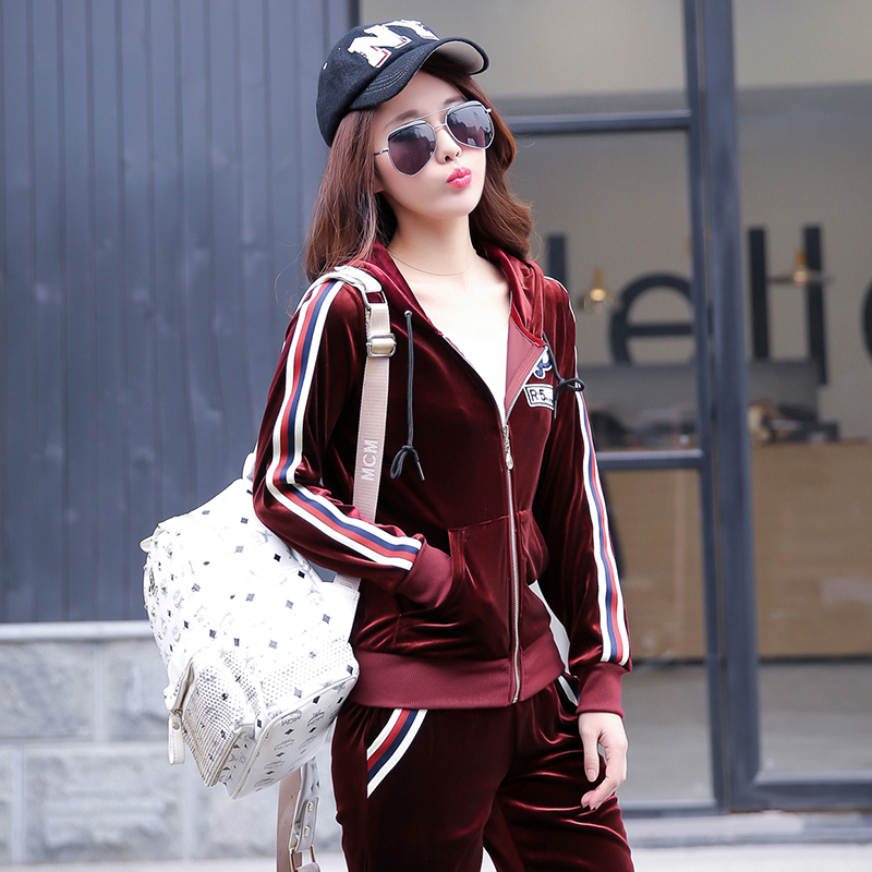 Sports suit female 2016 spring and autumn new korean gold velvet leisure suit large size sportswear suit female fashion