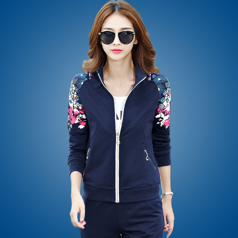 Sports suit female spring and large size sportswear three sets of 2016 spring women slim leisure suit female spring