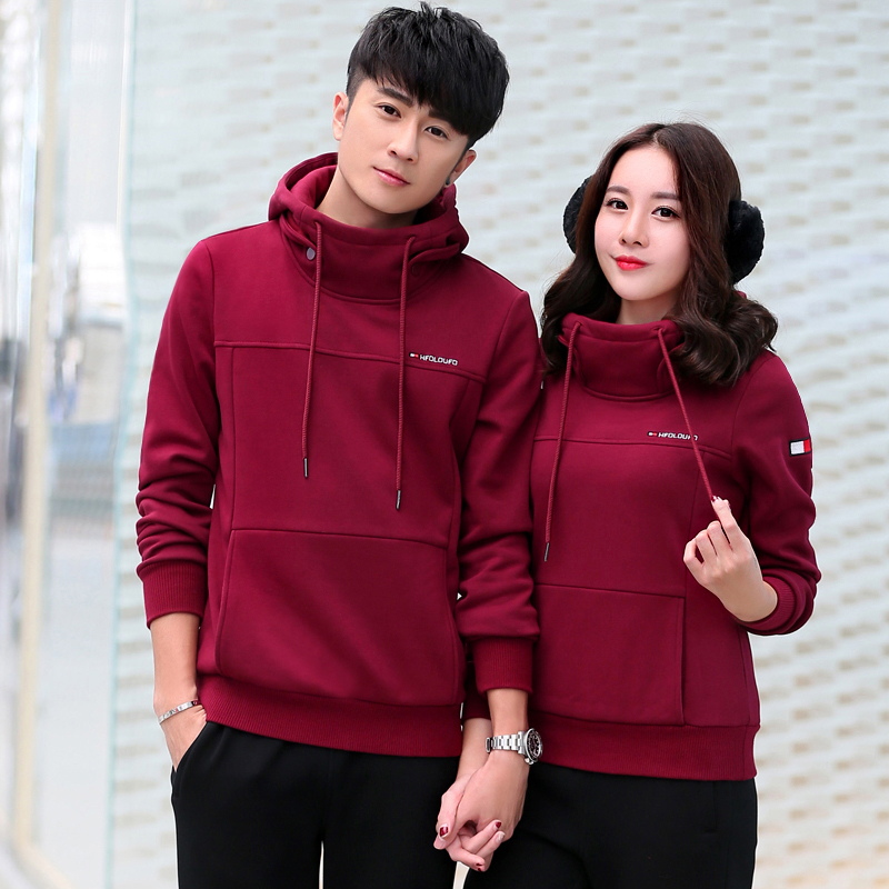Sports suit lovers cotton men's casual sportswear jogging female plus velvet thick warm piece fitted winter
