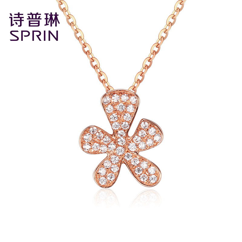 Sprin/poetry joplin k gold jewelry rose gold color gold jewelry inlaid zircon necklace female models fashion jewelry