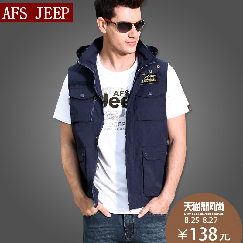 Spring and autumn afs jeep vest conventional thick section men's travel photography vest vest pocket more military frock