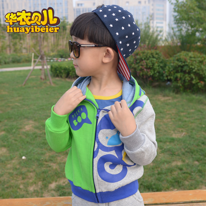Spring and autumn baby coat sweaters children wear girls and boys sweater coat korean version spell color long sleeve size spring