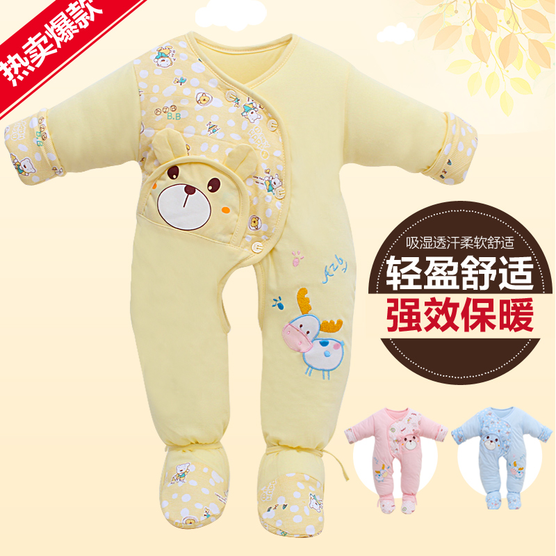 Spring and autumn baby cotton coveralls thick padded newborn baby siamese foot fall and winter baby clothes for men and women long sleeve