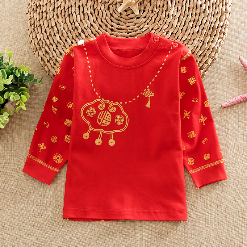 Spring and autumn baby red cotton care belly baby care belly underwear qiuyi bottoming shirt children's new year red dress
