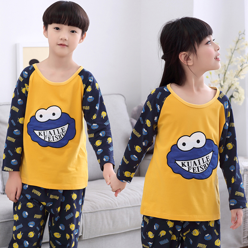 Spring and autumn big virgin cotton pajamas for boys and girls cartoon casual tracksuit cute pajamas suit long sleeve children