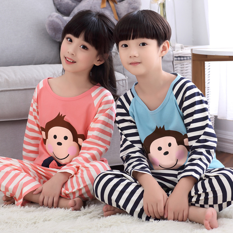 Spring and autumn children's pajamas long sleeve cotton pajamas cartoon boys and girls children in child big boy tracksuit suit