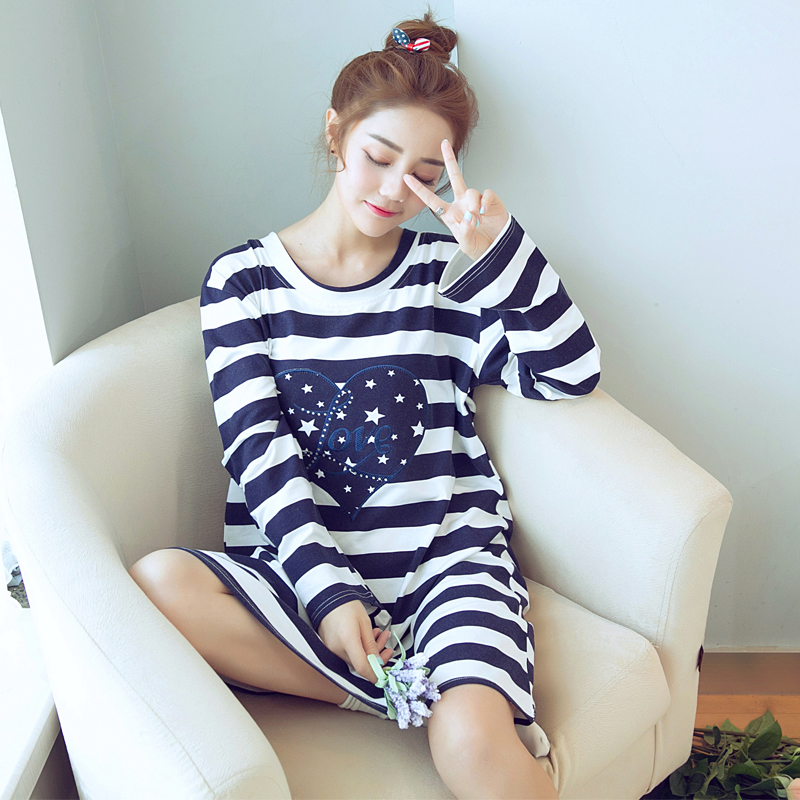 Get Quotations · Spring and autumn korean princess nightgown female cute  cartoon long sleeve cotton striped nightgown pajamas casual 262f38b7e