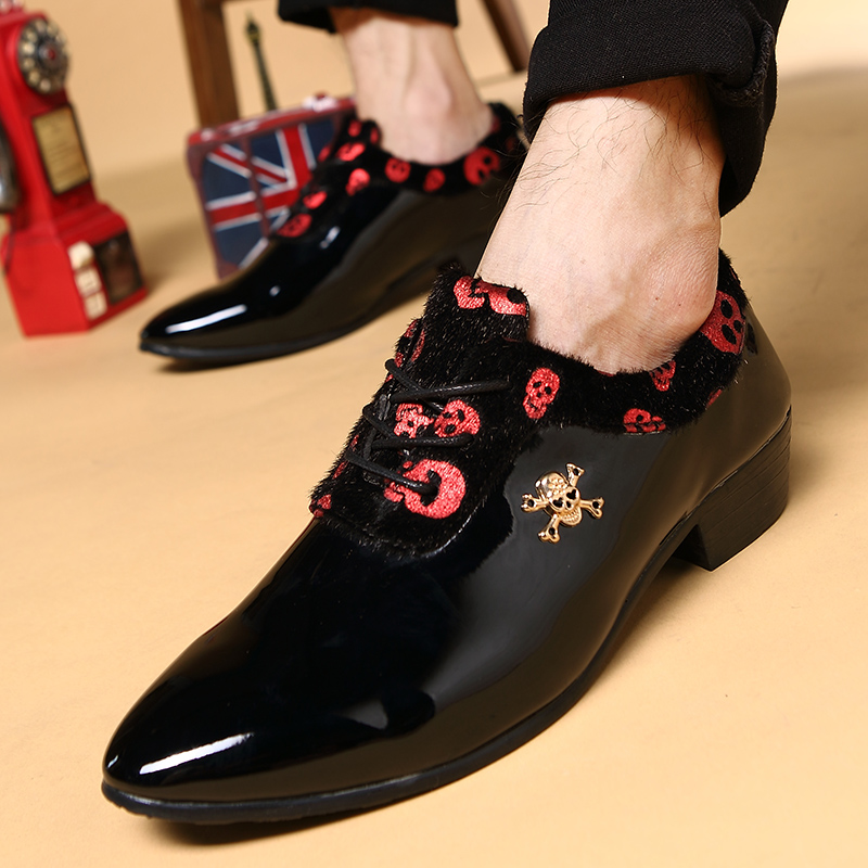 a839cc47c1f148 Get Quotations · Spring and autumn korean version of animal health lace  skull hairstylist pointed leather shoes casual men s