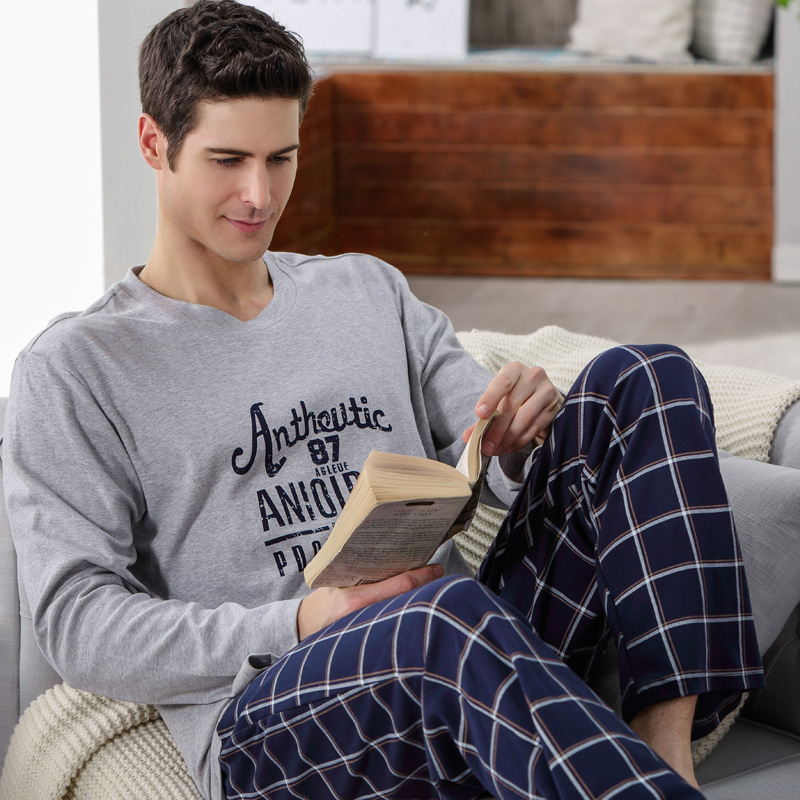 Spring and autumn men's tracksuit cotton long sleeve pajamas pants suit young cotton plus fertilizer xl pyjamas