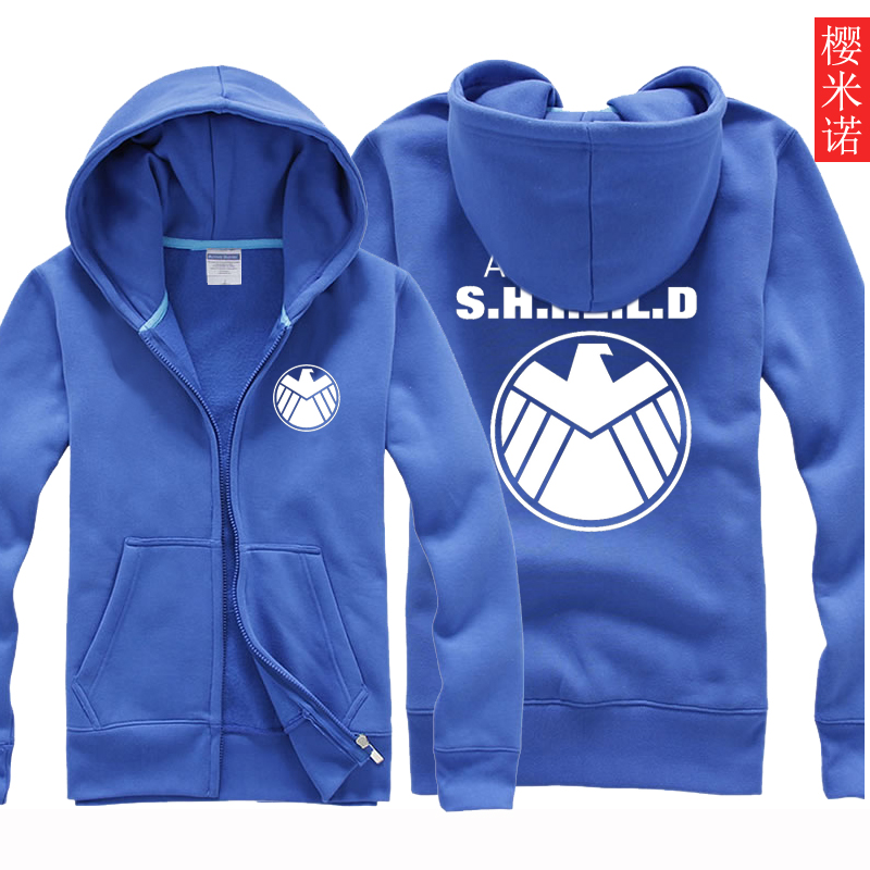Spring and autumn new adolescent students hooded zipper sweater s.h.i.e.l.d. sleeved clothes men thin coat