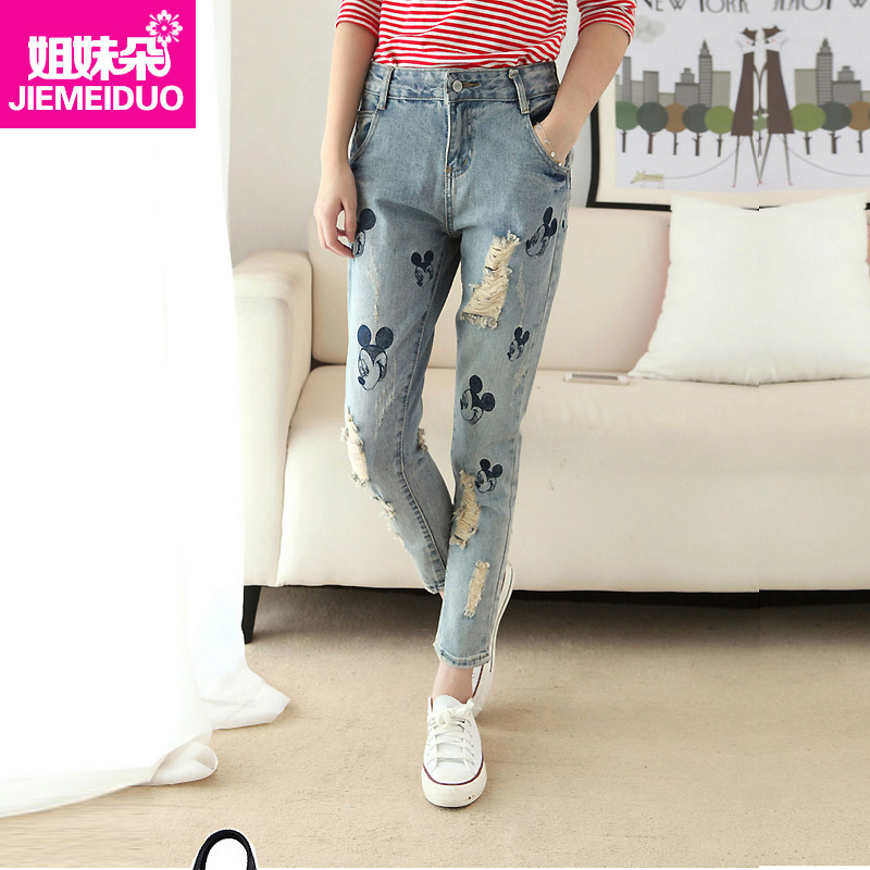 Spring and autumn new cartoon girl washed wear white hole jeans female korean students wild waist pants pantyhose tide
