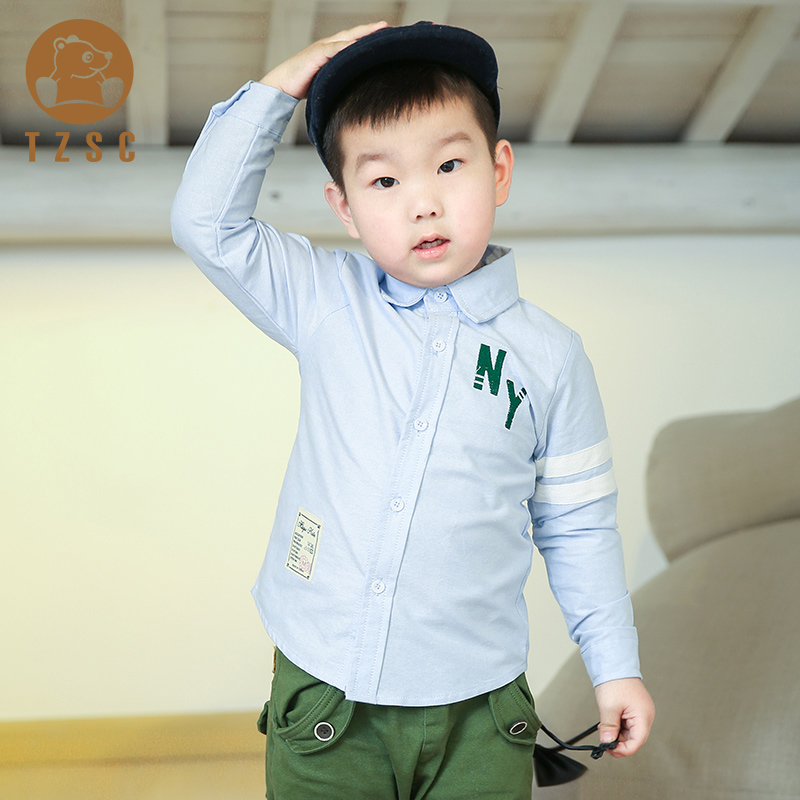 Spring and autumn new square collar long sleeve white shirt male children in children cartoon cotton shirt casual shirt specials