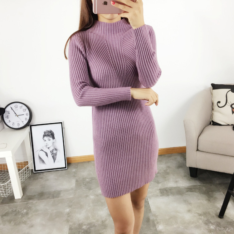 Spring and autumn new women's long sleeve turtleneck sweater and long sections and a half high collar slim thin knit sweater bottoming shirt