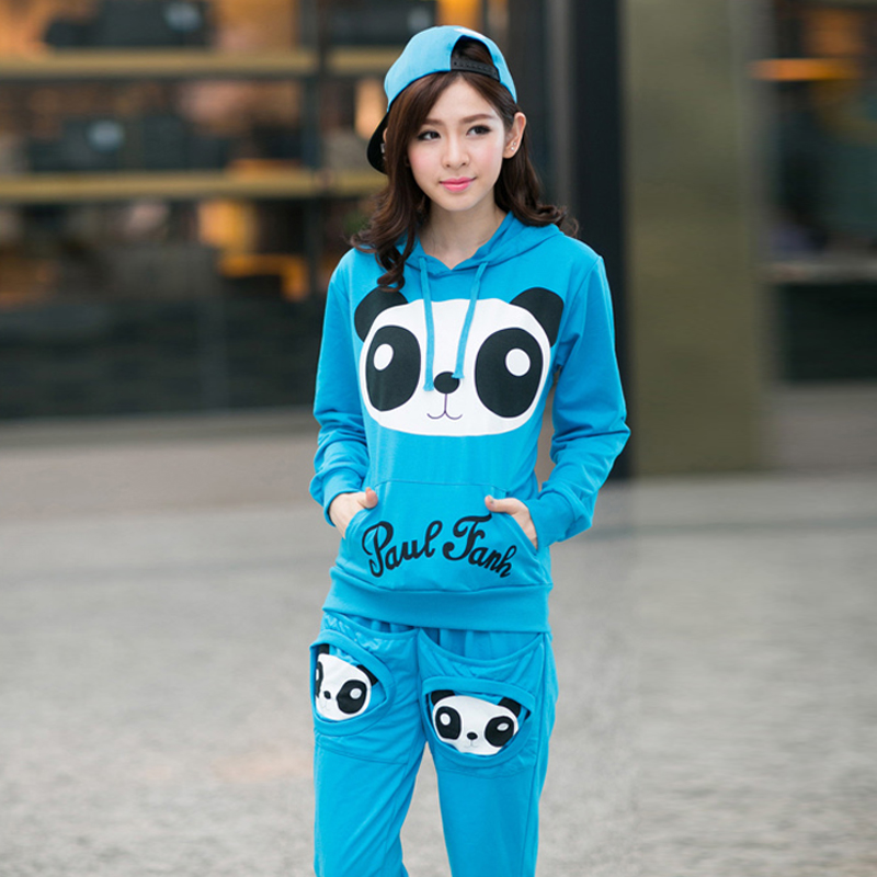 Spring and autumn piece sweater women 2016 adolescent girls middle school students cute cartoon panda leisure sports suit female