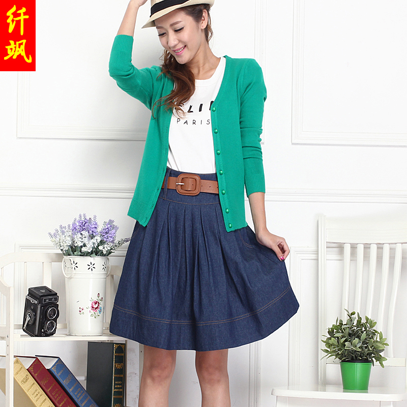 Spring and autumn pleated denim skirt casual denim skirt skirt skirt us college wind beautiful dress skirt skirts a word skirt