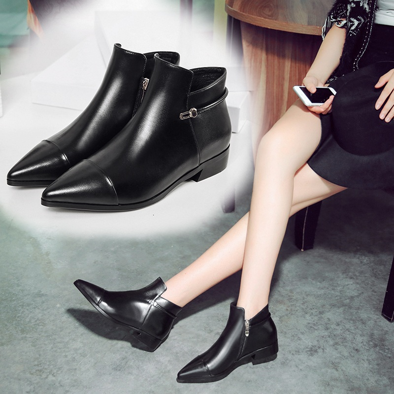 Spring and flat boots single woman pointed boots thick with leather boots female winter boots with flat boots martin boots female british lun