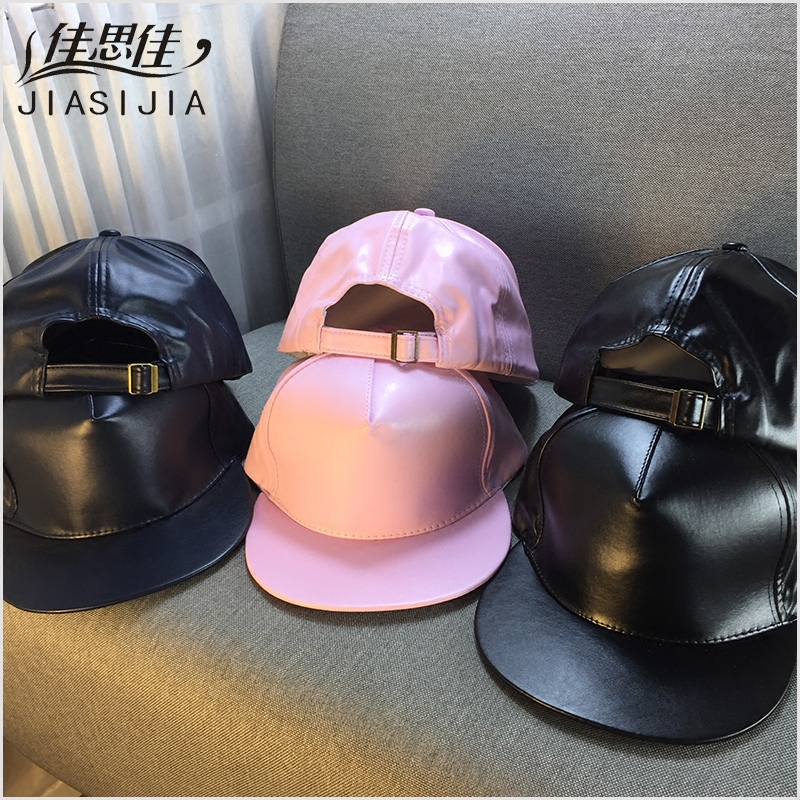 Spring and summer girls solid color fur hat cap influx of korean version of the leather buckle korean version of the solid flat brimmed baseball cap hat fashion