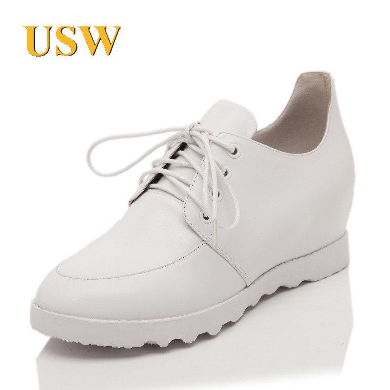 Spring and summer new leather shoes increased women's singles usw2015 with round women shoes low heel fashion sweet department