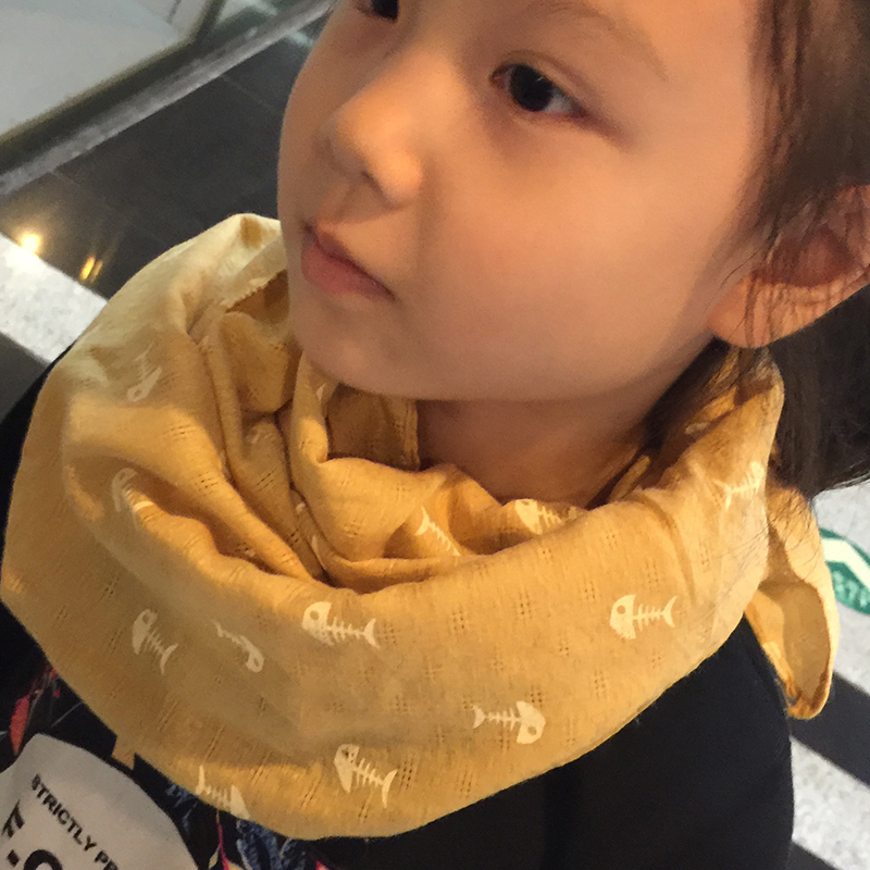 Spring new baby soft cotton scarf scarf scarf children boys and girls fishbone fashion scarves