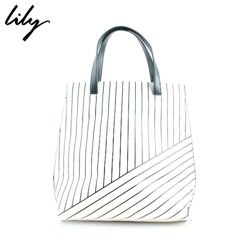 Spring new women's wild striped Lily2016 pleather 116130BZ403 tóth commuter fashion handbags