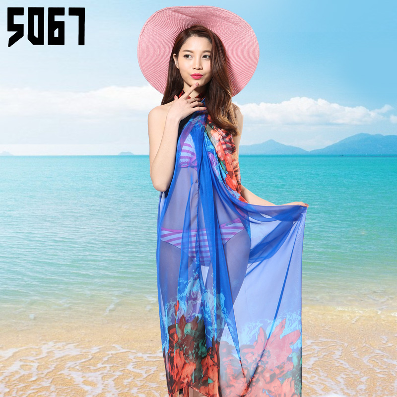 Spring wild female scarf shawl summer sun beach seaside beach towel chiffon scarves oversized scarf long section