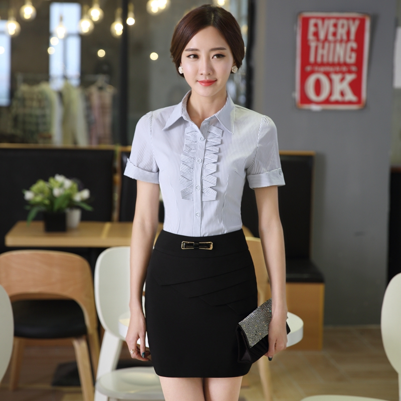 Sprinkle with short sleeves korean fashion wear skirt suits beautician overalls korean ol skirt suit overalls