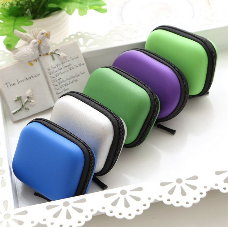 Square trumpet acousticon packing box bluetooth headset bag storage bag zipper pleather camera color color portable storage box