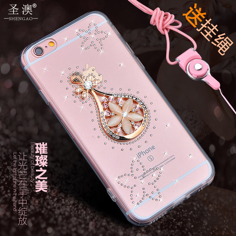 St. australia 6splus female models silicone protective sleeve apple iphone6plus phone shell mobile phone shell protective shell water drill lanyard