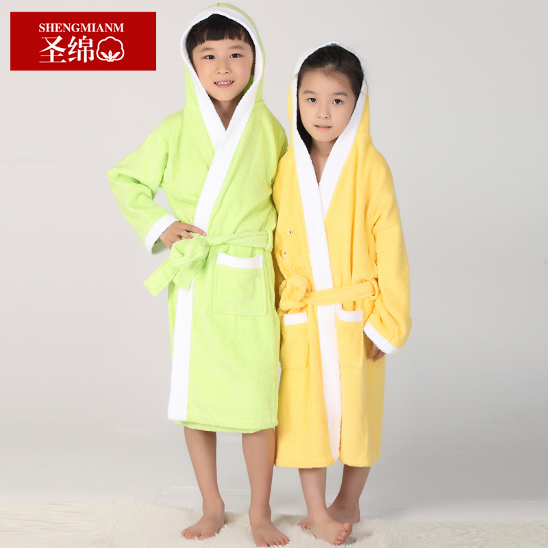 St. cotton absorbent cotton yukata robe hooded cotton toweling bathrobe children swimming bathrobe free shipping