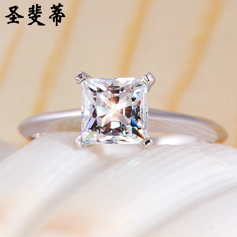 St. fei pedicle high simulation diamond wedding ring 925 silver ring ring female jewelry japan and south korea princess diamond ring