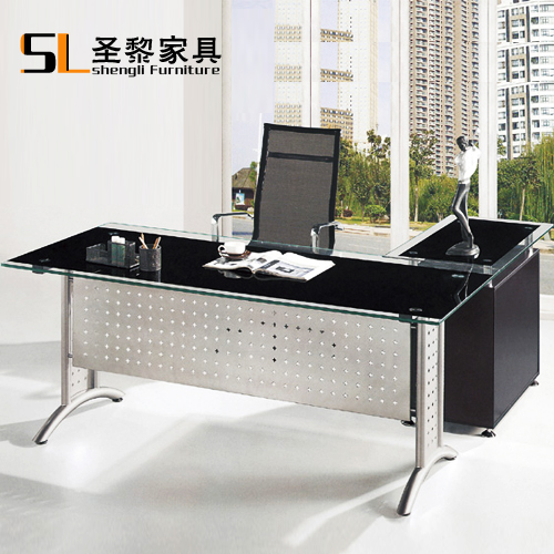 St. li office furniture glass coffee table modern minimalist black glass table desk manager in charge of 6622
