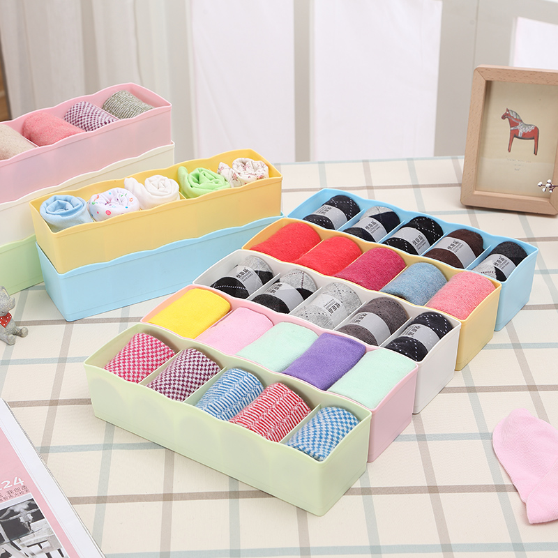 Stackable versatile socks underwear drawer storage box candy colored plastic storage box 5 sets free shipping