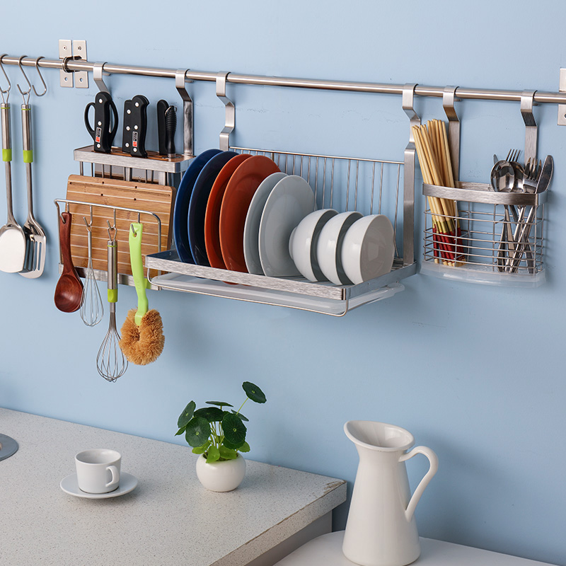 Stainless steel kitchen wall shelving racks wall rack turret seasoning rack dish rack pot dishes dish rack storage