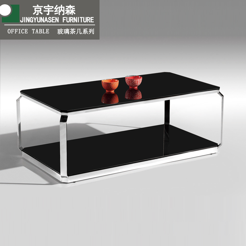 Stainless steel tempered double office coffee table in black lacquer long coffee table small coffee table sofa matching coffee table minimalist