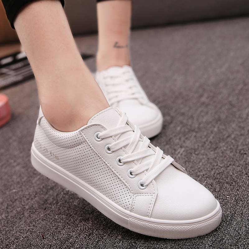 Star of the same paragraph white shoes women flat shoes lace korean wild spring and summer women's singles shoes casual shoes student shoes