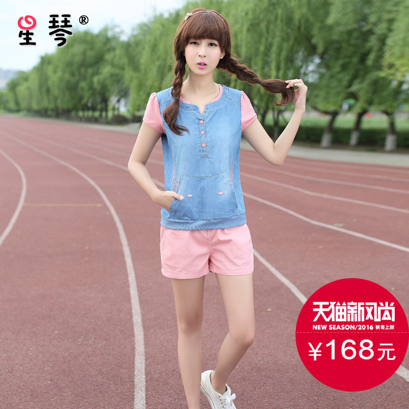 Star piano girls summer cute cowboy sports and leisure suit junior and senior high school students short sleeve t-shirt shorts piece