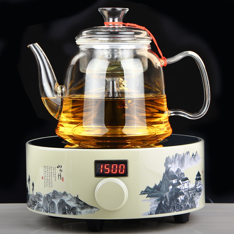 State phase electric heating thick glass resistant glass tea tea tea tea is black tea teapot boiling steam tea is black tea