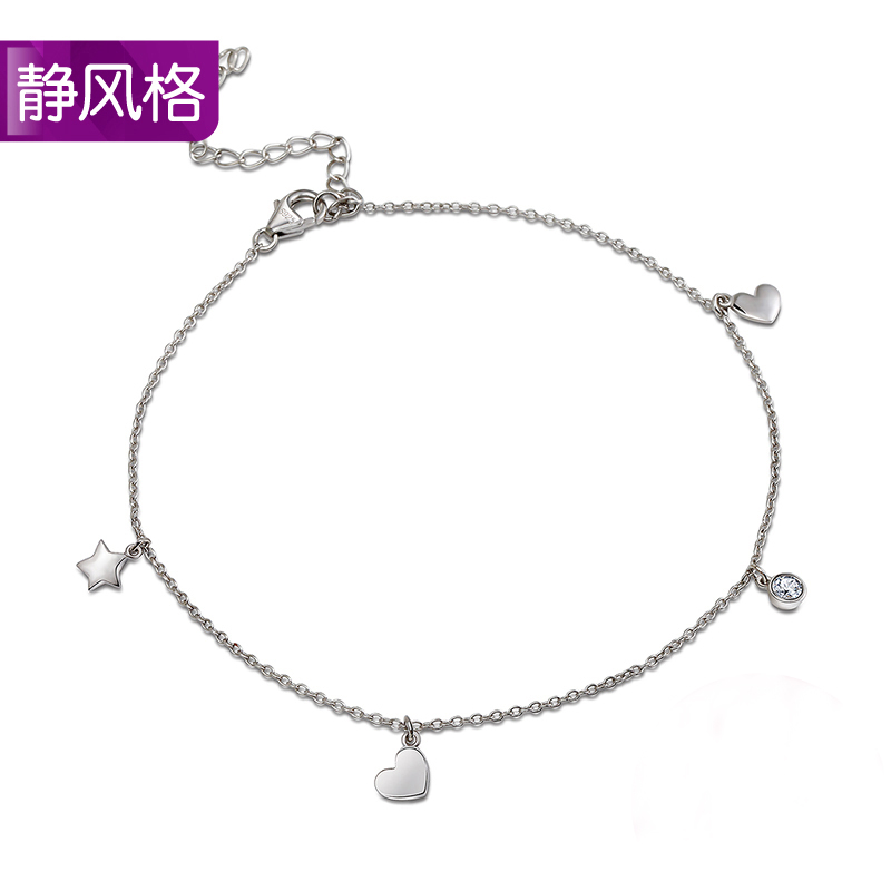 Static style sikai dew a grade zircon 925 silver anklets hypoallergenic sexy cute