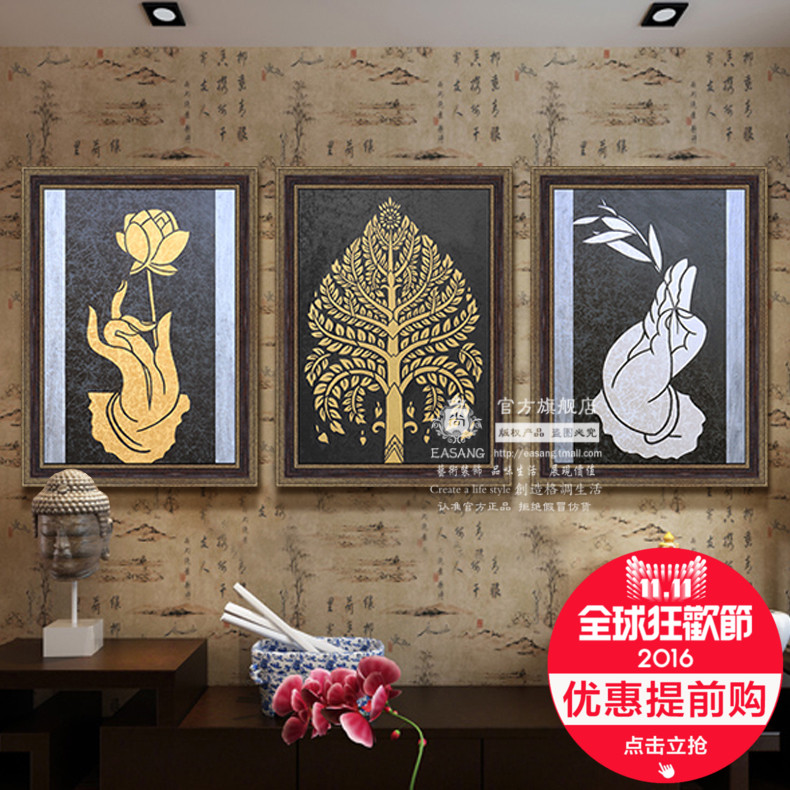 Station shangdong nan yatai style framed painting home hotel decorative painting the living room mural painted abstract oil painting hand painting gold leaf