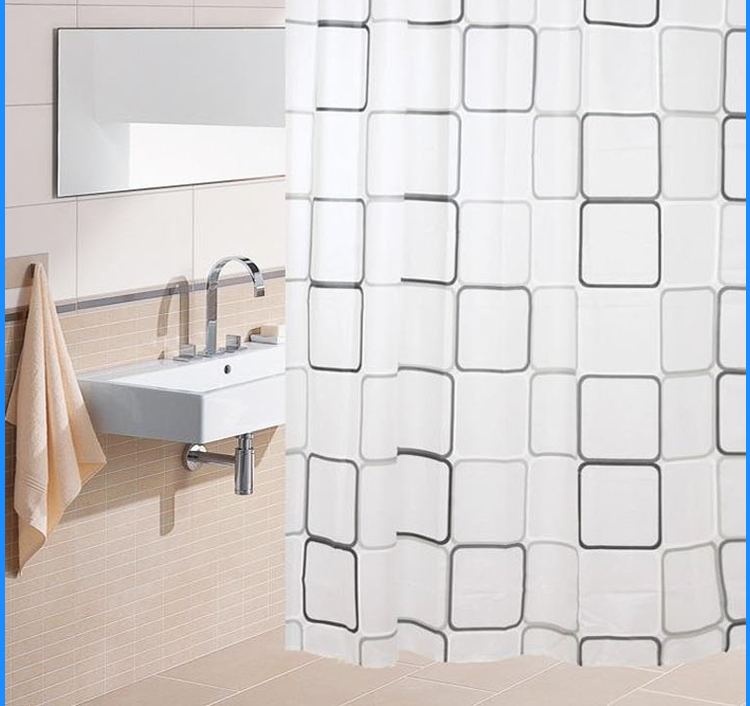 Steel kbsf weijia large squares of black and white ash classic eva shower curtain buckle simple european style bathroom partition